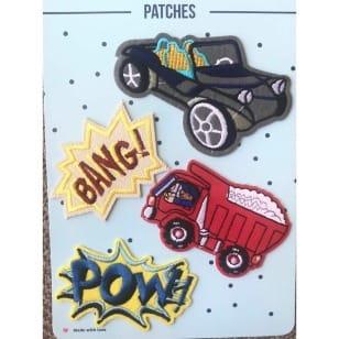 Aufnäher Applikation Patches Auto Bagger Set 4 Teile kaufen