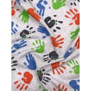 Single Jersey, Kinderstoff Hallo Handabdruck Breite 155cm kaufen