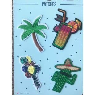 Aufnäher Applikation Patches Cocktail Palme Set 4 Teile kaufen