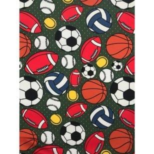 Jersey Stoff Kinderstoff Ball Fußball Khaki Breite 150 cm ab 50 cm kaufen
