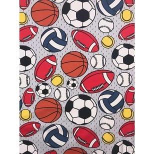 Jersey Stoff Kinderstoff Ball Fußball grau Breite 150 cm ab 50 cm kaufen