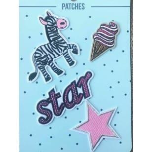 Aufnäher Applikation Patches Star Eis Zebra Set 4 Teile kaufen