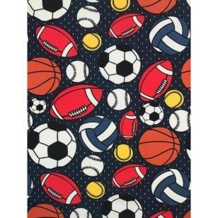 Jersey Stoff Kinderstoff Ball Fußball dunkelblau Breite 150 cm ab 50 cm kaufen
