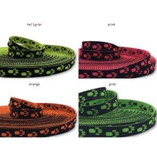 Gurtband 15mm Hundepfoten Leine Halsband Neon 4 Farben kaufen