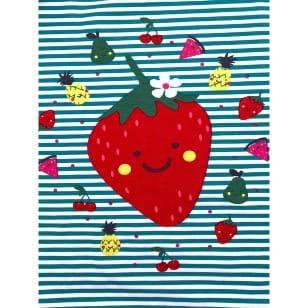 Panel Jersey Stoff Erdbeere Blumen grün Kinderstoff kaufen