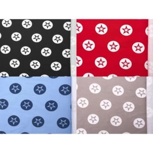 Sommersweat Terry Sterne, schwarz, rot, hellblau, hellbeige kaufen