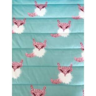 Steppstoff einseitig mit Motiv Füchse rosa/mint kaufen