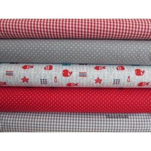 Stoffpaket in grau, rot, 5 Stoffstücke kaufen