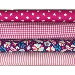 Stoffpaket in pink 4 Stoffstücke kaufen