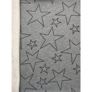 Sweat Stoff flauschig grau Sterne kaufen