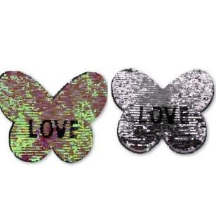 Wendepailletten XL-Patch Aufnäher Applikation Schmetterling Love Liebe kaufen