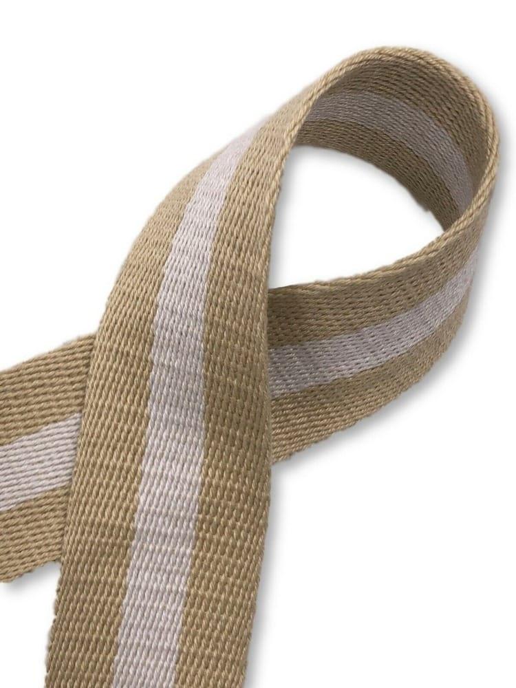 Gurtband aus Baumwolle rot natur 40 mm Taschengurt Taschenhenkel nachhaltig